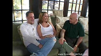 woman husband friend while dominate watches Girlfriend has threesome with me