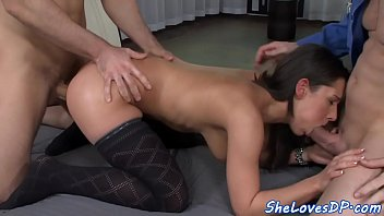 giving squirt while Femdom seduces men to strapon